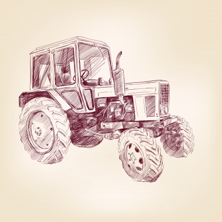 Farm tractor  hand drawn illustration  realistic sketch Vector