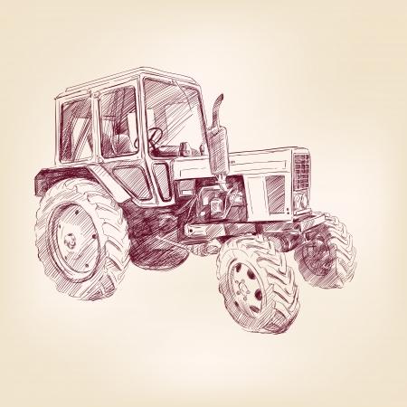 Landbouwtractor hand getekende illustratie realistische schets
