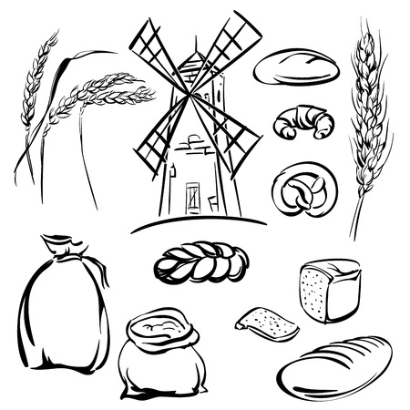 thresh:  bread  icons sketch collection  cartoon  illustration