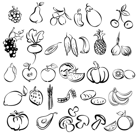 fruits and vegetables icon set sketch illustration