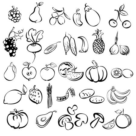 groenten en fruit icon set schetsillustratie
