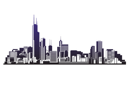 City silhouettes vector  illustration icon