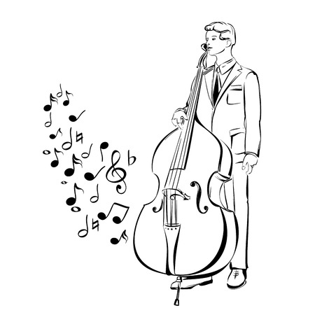 contra bass: musician playing contra bass cartoon vector  illustration