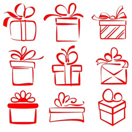 gift boxes icon set sketch vector illustration Vector