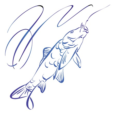 Fish symbol, hand drawn vector llustration realistic sketch Vector