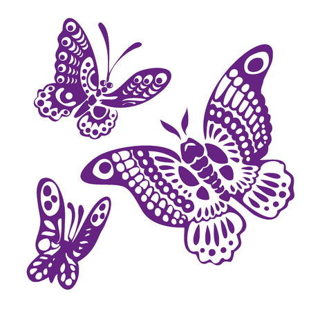 stylistic: Set of butterfly silhouettes isolated on white background Illustration