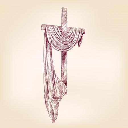 cruz de jesus: Madera de mano dibujada vector llustration esbozo realista Vectores