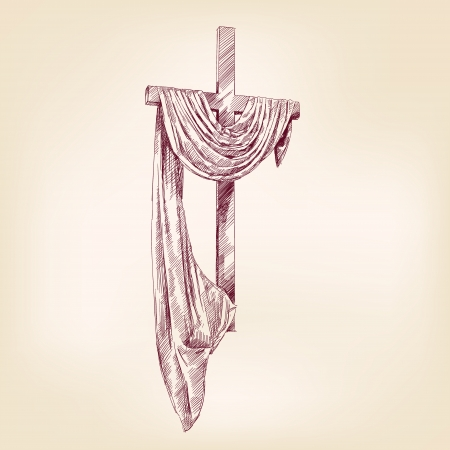 risen christ: wood cross hand drawn vector llustration realistic sketch Illustration