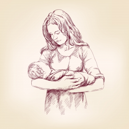 Madonna Mary holding Baby Jesus  hand drawn vector llustration