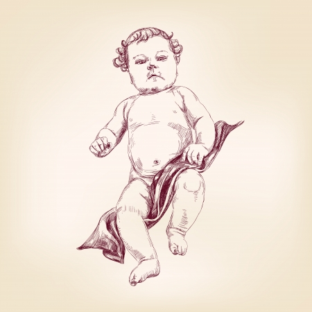 sketch child: baby in diapers hand drawn vector llustration