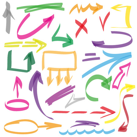 Set of many hand-drawn arrows isolated, vector  elements
