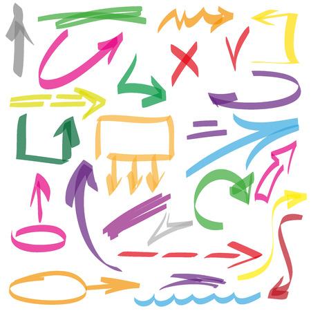 Reeks vele met de hand getekende pijlen geïsoleerd, vector elementen Stock Illustratie