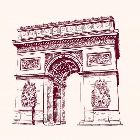 Arc de Triomphe, Parijs. hand getekende vector illustratie