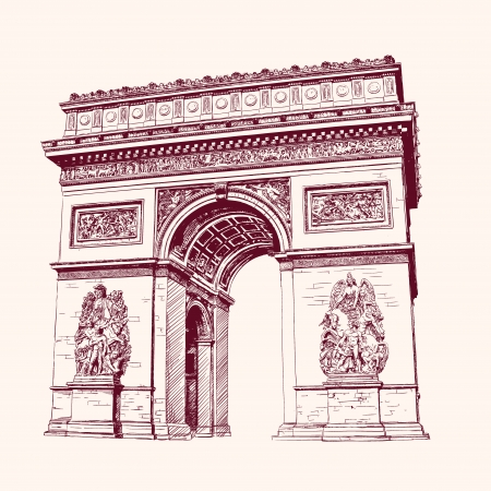 triumphal: Arch of Triumph, Paris. hand drawn  vector illustration