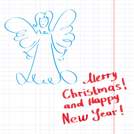 Sketchy Christmas angel vector illustration