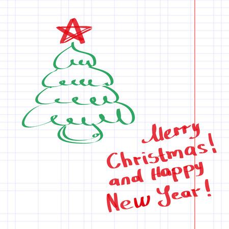 Sketchy Christmas tree vector illustration Illustration