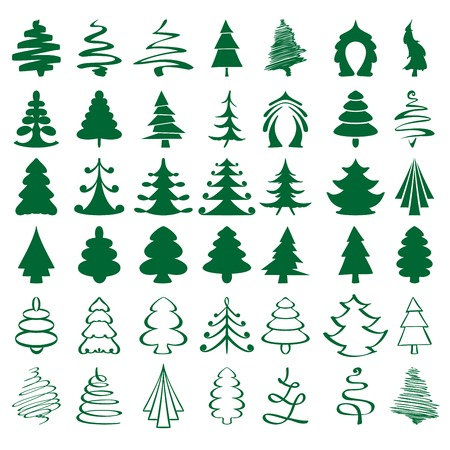 christmas trees sketch collection  cartoon vector  illustration Vector