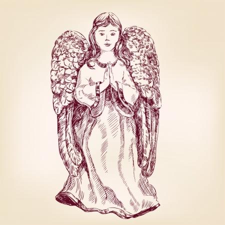 angel vector illustration realistic sketch Vector