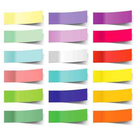 collection of colorful vector sticky notes, transparent shadows Vectores