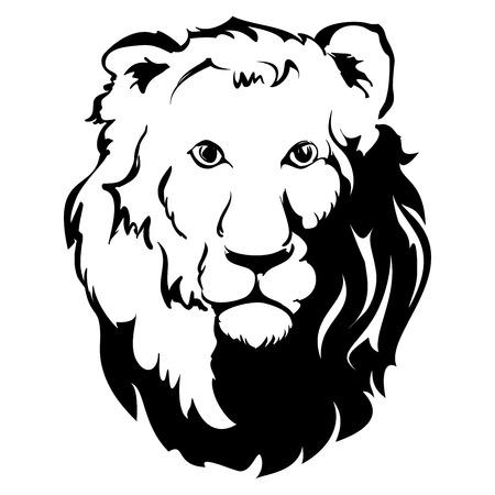 dominance: Head Icon Le�n, tatuaje, vector llustration Vectores