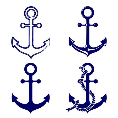ancla: símbolos de anclaje fijados ilustración vectorial