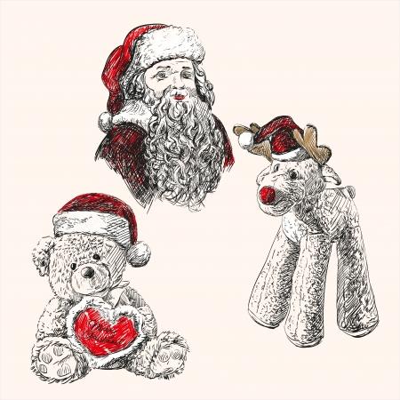 plushy: christmas set  hand drawn vector llustration sketch Illustration
