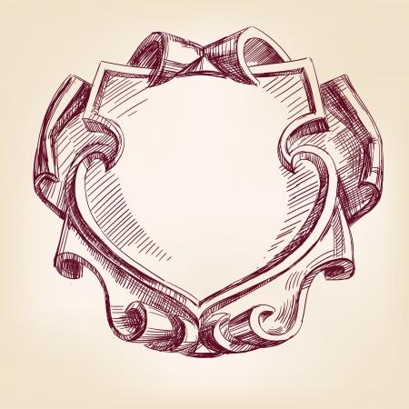 border frame engraving  ornament hand drawn vector llustration Illustration