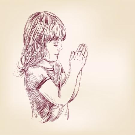 little girl praying hand drawn vector llustration
