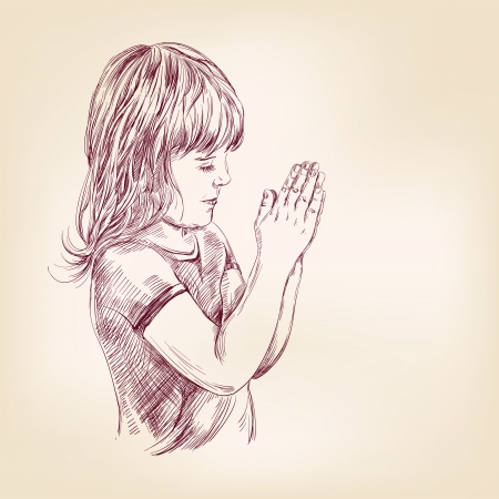 christian young: little girl praying hand drawn vector llustration