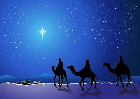 Kerstverhaal. Drie wijze mannen gaan voor de ster van Bethlehem