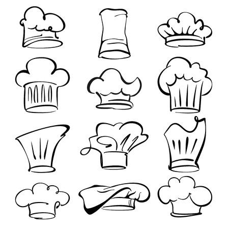 fine cuisine: illustrazione collezione cappelli cuoco vettore del fumetto Vettoriali