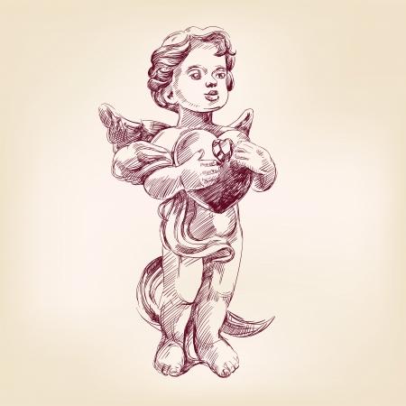engel of cupid geïsoleerde kant getrokken vector llustration Vector Illustratie