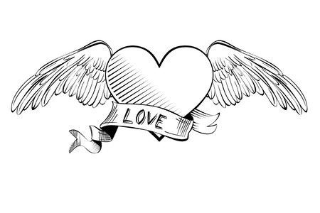 feathers: Heart with banner. sketch cartoon vector illustration