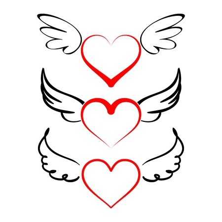 Heart with wings collection  cartoon vector  illustration Ilustração