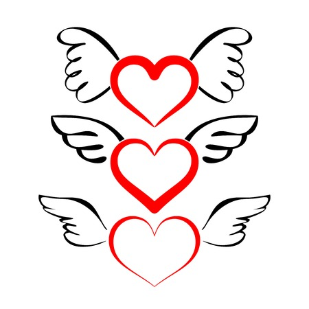 Heart with wings collection  cartoon vector  illustration Illustration