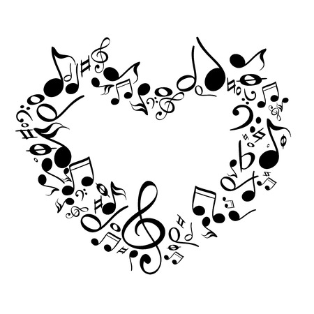 notes: music from heart sketch cartoon vector illustration