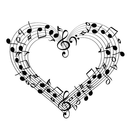 music from heart sketch cartoon vector illustration