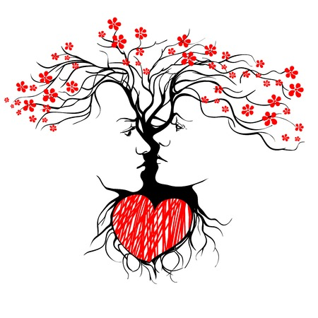 Silhouette of kissing couple shaped by tree. vector llustration