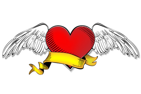 Heart with banner. sketch cartoon vector illustration