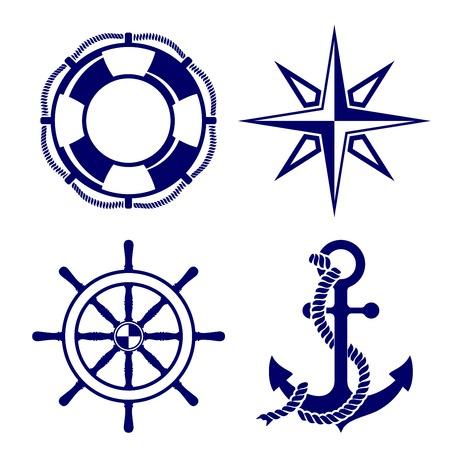 deportes nauticos: Conjunto de la ilustraci�n de los s�mbolos marinos Vector