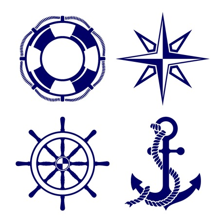 Set of marine symbols  Vector Illustration  Çizim
