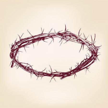 corona de espinas: corona de dibujo realista vector llustration dibujado espinas mano
