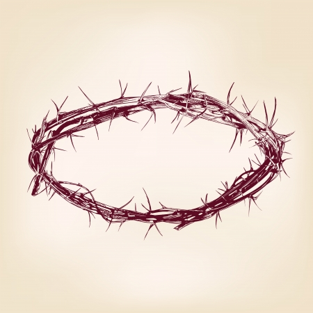 jesus christ crown of thorns: crown of thorns hand drawn vector llustration realistic sketch