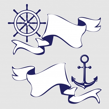 helm boat: Conjunto de banderas con la ilustración de los iconos marinos Vector