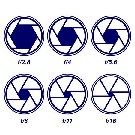 diaphragm: camera shutter symbols vector illustration