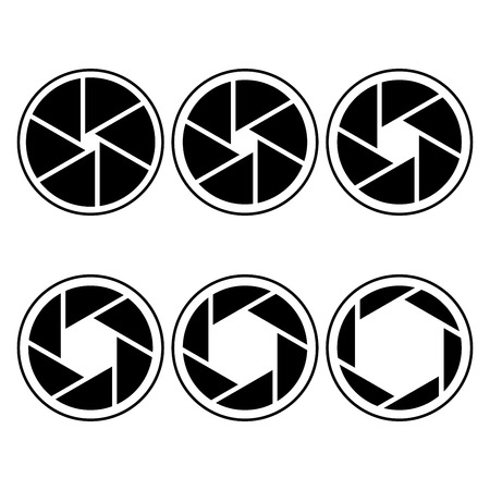 camera shutter symbols vector illustration