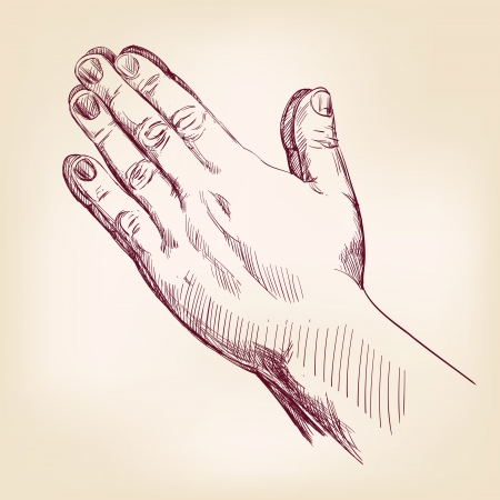 hand holding paper: Praying Hands drawing vector illustration realistic sketch