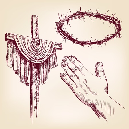 risen christ: christianity collection isolated hand drawn illustration Illustration