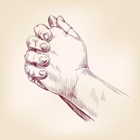 Praying Hands tekening vector illustratie realistische schets Stock Illustratie