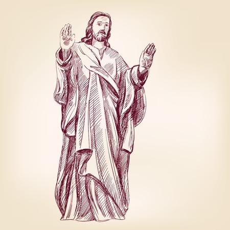 Jesus Christ hand drawn illustration Vector